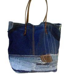 청바지 리폼가방, 가죽콜라보의 좋은 예 : 네이버 블로그