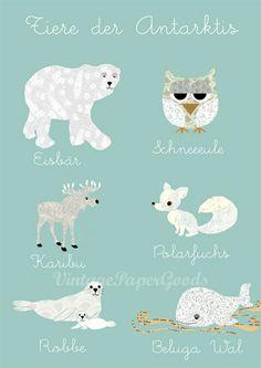 Neu A3  - Tiere der Antarktis im Kinderzimmer  von VintagePaperGoods - GreenNest auf DaWanda.com