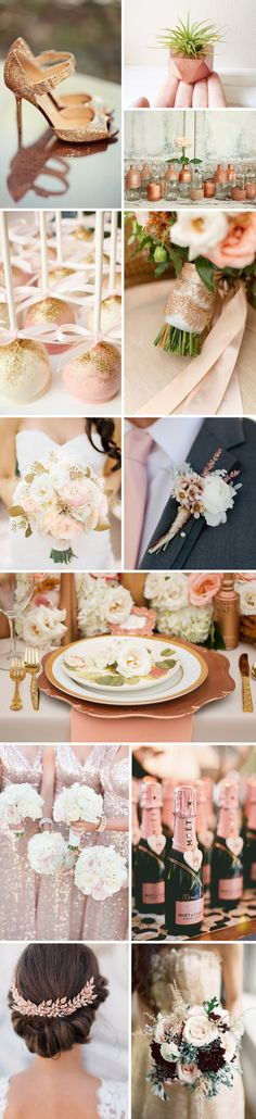 The color rose gold has definitely been a popular wedding trend this year and I'm not surprised because this color is gorgeous and so versatile! This fabulous metallic shade can be used as an accent, or as the main color of your wedding. Let's just say no matter your theme, you can add a touch of rose gold into just about everything