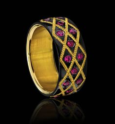 Zoltan David  'Duchess Band'   Black Knightsteel, 24K Inlay, Round Brilliant Rubies