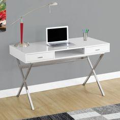 Monarch Specialties Computer Desk - Glossy White - Desks at Hayneedle