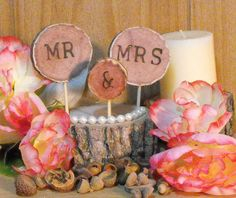 Rustic Wedding Cake Toppers 3pcs- Wedding Cake Decorations - Rustic Decorations - Wood Slices - Woodland Weddings-Eastern Red Cedar - pinned by pin4etsy.com