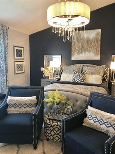 astonishing blue yellow bedroom decorating ideas | Beautiful Navy Blue Bedrooms to Inspire Your Master Suite ...
