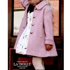 Luxury Doll Coat from Liton Tweed in Pink Available sizes: years Price : 100 - 135 KD Baby Girl Fashion, Kids Fashion, Womens Fashion, Look Fashion, Baby Coat, Stylish Coat, Kids Coats, Little Girl Dresses, Women's Fashion Dresses