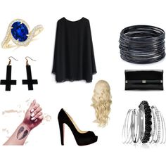 Black is such a happy color by noely-jones on Polyvore featuring Chicwish, Christian Louboutin, Diane Von Furstenberg, ABS by Allen Schwartz, Avenue and Chicnova Fashion