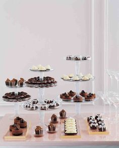 Glazed Mini Chocolate Bundt Cakes Create a striking assemblage of desserts when you pile these chocolatey cakes drizzled with stark white frosting with other black-and-white treats.  YIELD: Makes 3 dozen 2 1/2-inch round cakes