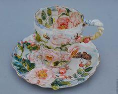 """Купить Чайная пара """"Шиповник"""" - разноцветный, чайная пара, чашка с блюдцем, чайная пара с росписью"""