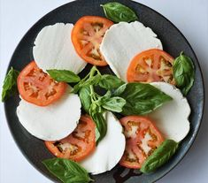 Dairy-free caprese salad w/ basil, tomatoes, and alternative mozzarella (paleo, AIP) from Flash Fiction Kitchen