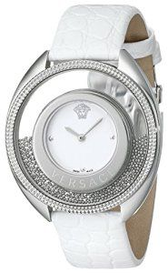 * Versace Women's 86Q99D002 S001 Destiny Spirit Stainless Steel Micro-Spheres Watch with White Leather Band