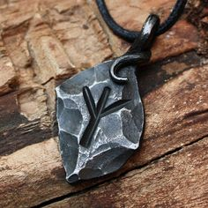 Hierro forjado Algiz Yr de Elhaz Rune Viking amuleto rúnico