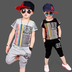Cheap kids hip hop clothing, Buy Quality toddler boys clothing directly from China vetement enfant garcon Suppliers: Toddler Boys Clothing Casual Vetement Enfant Garcon Fashion Boy Clothes Cool Kids Hip Hop Clothing Sports Suit Boys Summer Outfits, Toddler Girl Outfits, Summer Clothes, Baby Boys, Kids Boys, Toddler Boys, Hip Hop Kleidung, Mode Cool, Boys Clothes Style