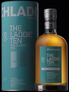 The Laddie Ten Year Old Whisky - Single Malt Scotch Cigars And Whiskey, Scotch Whiskey, Whiskey Bottle, Whisky Shop, Alcohol Bottles, Single Malt Whisky, Wine And Liquor, Bottle Packaging, Product Packaging