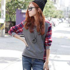 여성 긴 소매 스웨터 크루 넥 격자 무늬 체크 느슨한 후드 여성
