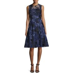 David Meister Sleeveless Beaded Floral Jacquard Dress ($208) ❤ liked on Polyvore featuring dresses, navy, pleated dresses, floral dresses, navy blue dress, a line dress and blue a line dress