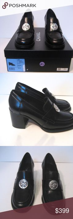 """CHANEL Black Calfskin Block Heels Loafers Sze 36.5 CHANEL Black Calfskin Block Heels Loafers With Silver Medallion Size 36.5 Heel 3.5"""" Pre-owned Great condition Original Box & Dust-bag CHANEL Shoes Heels"""