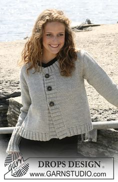 "Knitted DROPS jacket in ""Karisma"" with rib borders. Yarn alternative ""Merino"". Size S - XXXL."