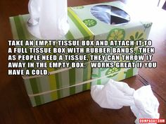 Awesome idea!  Great to give box to my sick child and they can just put in empty box instead of all over the floor!