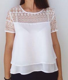 Tienda Online Nuevo 2016 Summer Fashion Gasa de Las Mujeres Blusas de Manga Corta Del O-cuello Más Tamaño Suelta la Blusa de Encaje Camisas Casual Tops Blusas | Aliexpress móvil