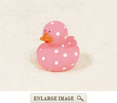 Pink Polka Dot Rubber Duck Favor are sold individually, and are great for bathtime fun!