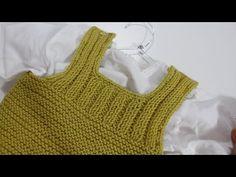 Peto Baby a Dos agujas paso a paso I cucaditasdesaluta | Cucaditas de Saluta Baby Knitting Patterns, Knitting For Kids, Knitting Stitches, Knitting Designs, Baby Vest, Baby Cardigan, Knitting Videos, Crochet Videos, Tricot Baby