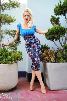 Pinup Couture - Dixiefried Peasant Dress in 1940s Dragon Print