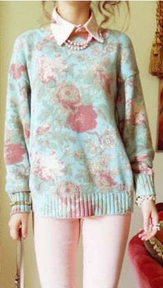 floral sweater with collar