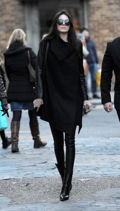 Kendall Jenner in all black at Topshop in London.