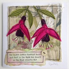 Making more fuchsia greetings cards for the Original Kerry shop in Dingle, though I don't think there will be many fuchsias left in the Dingle hedgerows after Storm Ophelia! Freehand Machine Embroidery, Free Motion Embroidery, Free Machine Embroidery, Embroidery Applique, Embroidery Stitches, Fabric Cards, Fabric Postcards, Textiles, Quilting