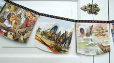 Davy Crockett bunting banner vintage repurposed by decorandcrafts, $12.00