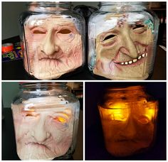 Make some creepy heads in jars for Halloween! They will freak out the kids, neighbors, and trick or treater's galore! These are so easy to make…you have no excuse not to! You will need… Jar Creepy halloween mask Water Glow stick/lights   Squish your mask inside a glass jar and fill it up full with …
