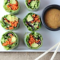 """""""Vegetable rolls are so beautiful and surprisingly easy once you get the hang of the first roll. Use any combination of veggies (or fruit!) to en… Raw Food Recipes, Vegetable Recipes, Vegetarian Recipes, Cooking Recipes, Healthy Recipes, Party Recipes, Lunch Recipes, Asian Recipes, Raw Vegetables"""