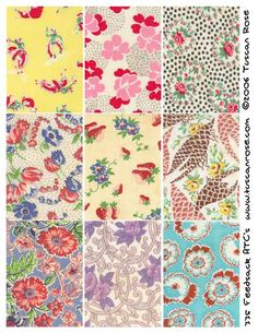 Prints from (of all places) america animal feed sacks. I wish feed sacks still came in these prints Vintage Textiles, Vintage Quilts, Vintage Sewing, Shibori, Sewing Crafts, Sewing Projects, Tips & Tricks, Retro Fabric, Paisley