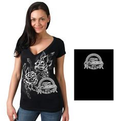 Official 2014 Sturgis Motorcycle Rally Growing Skulls V-Neck Ladies Tee