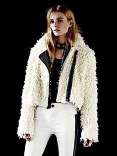 NEW Free People ivory thick Shaggy Sherpa Moto Coat Jacket herringbone trim $248 #FreePeople #blanketcoat #versatile