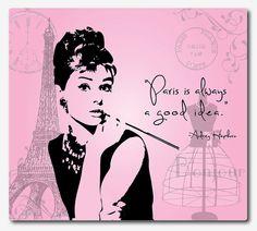 Mousepad  Audrey Hepburn  Paris is always by SusanNewberryDesigns, $19.50