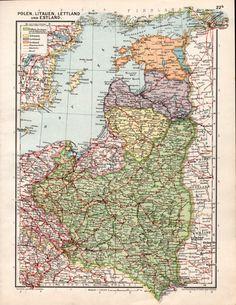 1926 Poland Lituania Latvia and Estonia Antique Map by Craftissimo