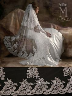 Gorgeous double veil with lace appliqués