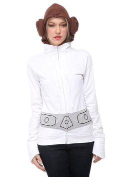 Can't believe stupid Hot Topic has this, but I think all ladies should own a Leia hoodie with the buns attached to the hood.