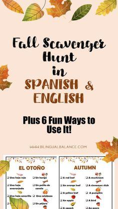 Fall Scavenger Hunt for Kids in Spanish & English - Bilingual Balance