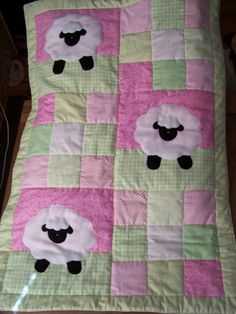 Hand Appliqued Lamb Patchwork Baby Girl Quilt by SherrysHouse, $125.00