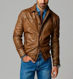 Men's Stylish Slim fit Soft Lambskin Bomber Biker Leather Jacket