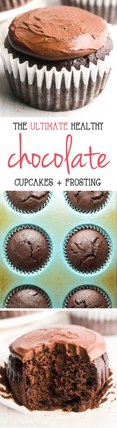 The Ultimate Healthy Chocolate Cupcakes -- just 135 calories, but these skinny c., Desserts, The Ultimate Healthy Chocolate Cupcakes -- just 135 calories, but these skinny cupcakes don& taste healthy at all! Healthy Chocolate Cupcakes, Healthy Cupcake Recipes, Healthy Dark Chocolate, Healthy Cupcakes, Healthy Cake, Healthy Baking, Healthy Desserts, Chocolate Recipes, Baking Recipes