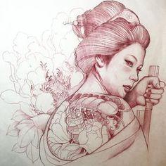 Новости Geisha Tattoos, Geisha Tattoo Design, Japanese Tattoo Designs, Japanese Tattoo Art, Samurai Tattoo, Samurai Art, Graffiti Tattoo, Japanese Geisha, Japanese Art