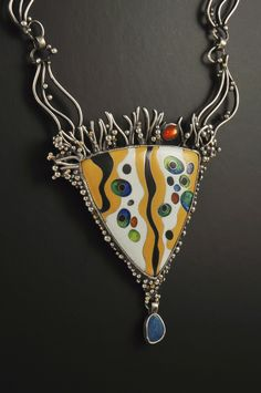 Klimt inspired silver cloisonne enamel pendant featuring opal drop and sunstone. Hand-wrought matching chain.
