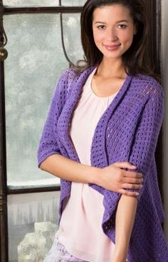 Drapey Crochet Cardigan Free Pattern from Red Heart Yarns ize: Small (Medium, Large, X-Large, 2X, 3X)