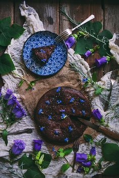 Preciously Me blog : Salted Almond Flourless Chocolate Cake With Violets by Adventures in Cooking