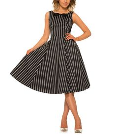 Loving this Black & White Forget Me Not Fit & Flare Dress - Women & Plus on #zulily! #zulilyfinds