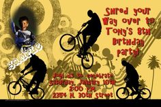 BMX Birthday Invitations   Get these invitations RIGHT NOW. Design yourself online, download and print IMMEDIATELY! Or choose my printing services.   No software download is required. Free to try!