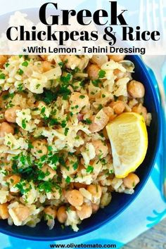 This one-pot traditional Greek chickpea and rice recipe makes a delicious comforting meal and the lemon-tahini takes it to another level! Recipes vegan Greek Chickpeas and Rice with Lemon and Tahini Easy Mediterranean Diet Recipes, Mediterranean Dishes, Clean Eating, Healthy Eating Tips, Chickpea And Rice Recipe, Rice And Beans Vegan Recipe, Rice And Beans Diet, Recipes With Chickpeas, Salads
