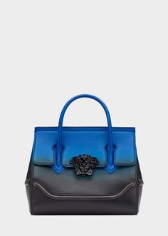 Palazzo Empire Degradé Color Bag from Versace Women's Collection. Dual-carry style bag from the Palazzo Empire line crafted in luxurious supple leather with central Medusa Head, top handle, wide shoulder strap and inner pockets. Versace Bag, Versace Handbags, Luxury Bags, Luxury Handbags, Women Accessories, Fashion Accessories, Best Purses, Fashion Bags, Gothic Fashion